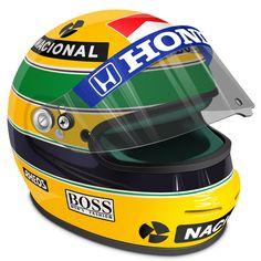 Senna's Helmet - A tribute to the best Brazilian Formula One driver of all times, Ayrton Senna, dead in May (treetog. Racing Helmets, F1 Racing, Formula 1, Honda, F1 Drivers, Helmet Design, Family Affair, Trucks, Toys For Boys