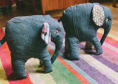 Elephant softies, recycled jeans by great and small