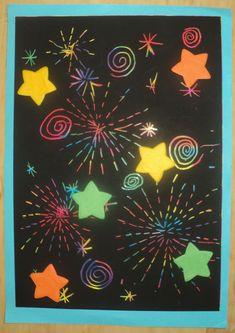 Novoroční ohňostroj 2018 - vyškrabávací papír a hvězdičky z hedvábného papíru