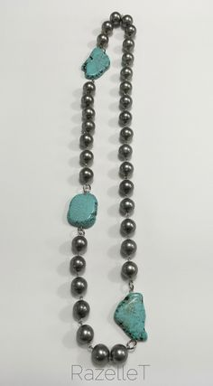 //Long turquoise and metal ball necklace by RazelleT. Ball Necklace, Necklaces, Bracelets, Turquoise Necklace, Jewerly, Costumes, Beads, Metal, Fashion