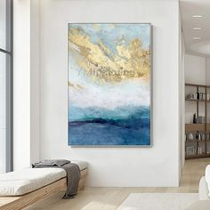 Gold art Modern Abstract acrylic paintings on canvas art original blue painting Large framed wall art wall pictures cuadros abstractos Abstract Canvas Art, Diy Canvas Art, Oil Painting Abstract, Acrylic Painting Canvas, Blue Painting, Giant Wall Art, Large Framed Wall Art, Tableau Design, Large Painting