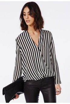 Long Sleeve Wrap Front Stripe Blouse