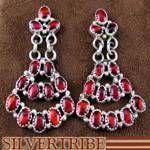 Native American Navajo Indian Red Paua Shell Chandelier Earrings