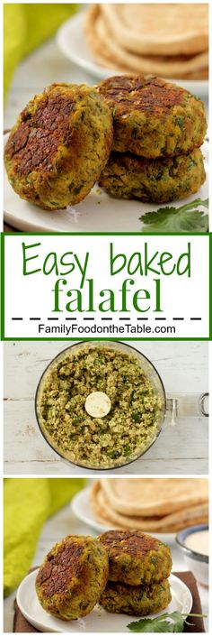 falafel and tahini sauce Easy baked falafel - these have a crispy exterior and soft inside with bright, fresh herbs. Also includes an easy tahini sauce to serve them with! Veggie Recipes, Whole Food Recipes, Vegetarian Recipes, Cooking Recipes, Healthy Recipes, Recipes With Veggie Patties, Cooking Pork, Cheap Recipes, Diet Recipes