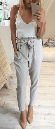 #summer #outfits  White Tank   Grey Pants