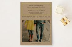 """Vintage Kraft"" - Vintage, Modern Wedding Invitations in Chartreuse by Waldo Press."