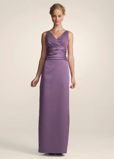 David S Bridal Bridesmaid Dresses Sleeveless Satin V Neck Dress With Slim Skirt Style 81047