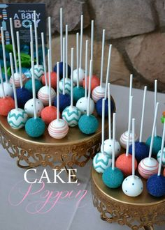 Chevron cake pops **replace coral with yellow** Baby Shower Cake Pops, Baby Shower Invites For Girl, Baby Shower Balloons, Lollipop Cake, Cupcake Cakes, Cupcakes, Turquoise Cake, Wedding Turquoise, Teal