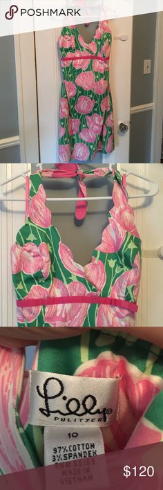 Lilly P. Pink Tulip Halter Top/ scallop top design Has a fabulous Halter Top with a Scallop Style.        Also a Cutesy pink 🎀 ribbon @ bust line.        Design from PRIOR 1999-2000. Love ❤️ it but it no longer fits.. it is in pristine condition. Help my Lillies find a happy home 🏡 Lilly Pulitzer Dresses Midi