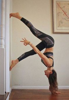 wall handstand variation #yoga