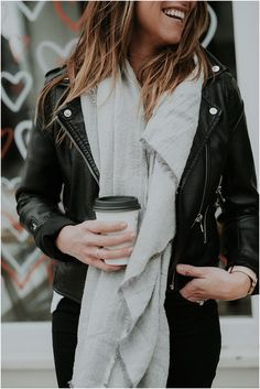 Faux Leather Jacket + Oversized Gray Blanket Scarf   Valentine's Day Outfit Ideas * Winter Outfits