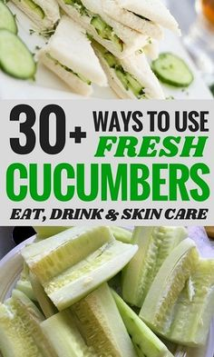 Cucumbers are an amazingly healthy food. And you can do more with them than eat them plain! Here are over 30 different fresh ways to use cucumbers to keep your body healthy- inside and out! Garden Vegetable Recipes, Vegetable Snacks, Veggie Recipes, Herb Recipes, Raw Recipes, Veggie Meals, Fruit Recipes, Vegetarian Recipes, Cooked Cucumber