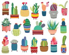 Cactus & Potted Succulents Clipart - 20 Hand Drawn Vector, PNG, and JPG Files - Cute Clip Art, Unique, Tribal Design Elements