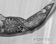 Sacred geometry, mandala, dot work sleeve. - www.DillonForteTattoo.com