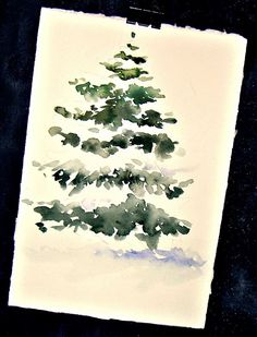 Kunst Zeichnungen: In and Out of The Studio .Could be easily be done for invitations or gift tags. Watercolor Christmas Cards, Diy Christmas Cards, Xmas Cards, Christmas Art, Cards Diy, Painted Christmas Cards, Christmas Tree Painting, Greeting Cards, Watercolor Trees