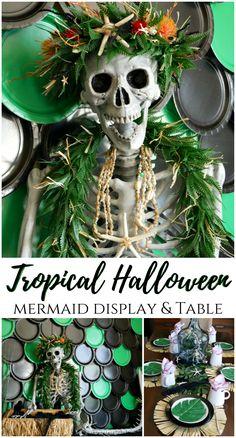Tropical Halloween Mermaid Display and Table Decor Ideas. Mermaid Skeleton, Halloween Mermaid, Theme Halloween, Halloween Skeletons, Fall Halloween, Halloween Crafts, Halloween Ideas, Halloween 2020, Couple Halloween