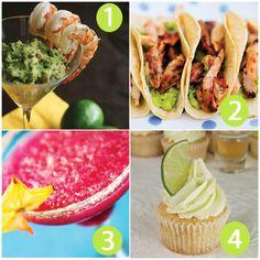 Cinco de Mayo Menu  1. Margarita Shrimp Cocktail with Grilled Avocado Guacamole  2. Beer Marinated Chicken Tacos  3. Prickly Pear Margarita  4. Lime Margarita Cupcakes