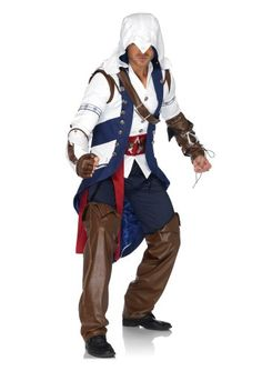 5 PC Connor Licensed Assassin's Creed III Costume, includes hooded vest jacket with inner jacket and belt, harness, glove, gauntlet and chaps. Halloween Costume Shop, Halloween Fancy Dress, Adult Halloween, Halloween Ideas, Halloween 2013, Halloween Cosplay, Halloween Party, Halloween Clothes, Spirit Halloween