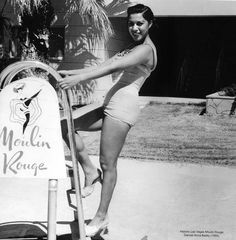 Vintage Las Vegas ~ Moulin Rouge Casino dancer Annie Bailey at the pool 1955