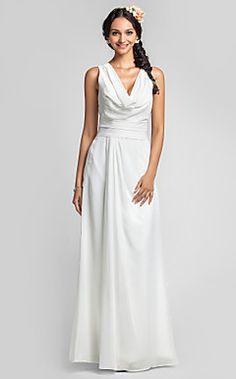 Sheath/Column Cowl Floor-length Chiffon Bridesmaid Dress(551... – USD $ 129.99