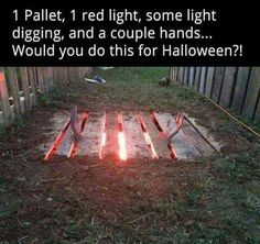 1 pallet red lighting some light digging and a couple hands awesome yard decor