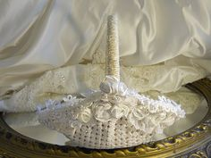 Vintage Flower Girl Basket handmade and embellished with vintage crochet, lace, rosettes and pearls