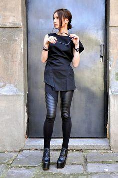 NUOVO nero tunica di lino stravagante A12120 Top basso di Aakasha