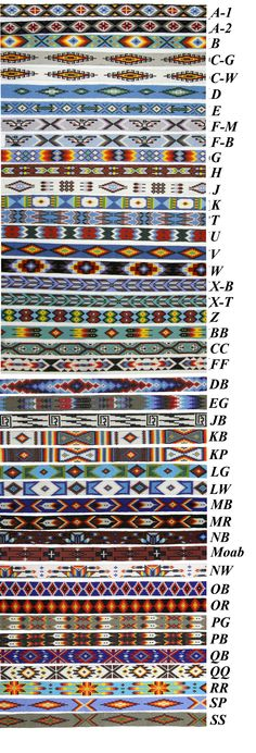 Embroidery Bracelets Patterns Wide Beaded Hatbands With Suede Ties Loom Bracelet Patterns, Bead Loom Bracelets, Bead Loom Patterns, Peyote Patterns, Weaving Patterns, Embroidery Patterns, Silver Bracelets, Bead Loom Designs, Bracelet Charms