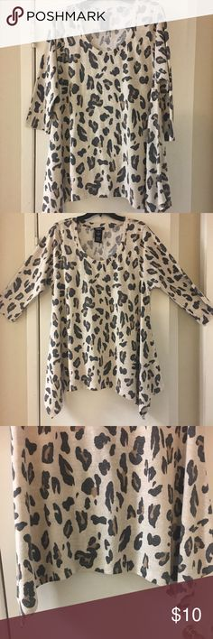 🌺PREMISE Animal Print Shark Bite Top🌺 So pretty. Animal print. Cheetah. Sleeves are shorter than most. Re-posh. Didn't like how it fitted me. My loss your gain. Premise Tops