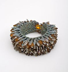 Fringe on netted cuff bracelet by Dolores Rizzo-Tesch.