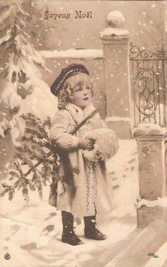 Vintage Christmas postcard/Joyeux Noël