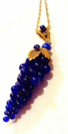 Victorian Glass Grapes Cobalt Pendant Necklace with Velvet Box | eBay