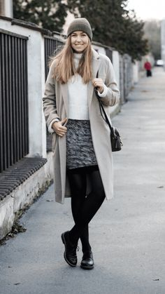 """Beige & Khaki -  As first seen on blog """"A Cup Of Style"""" here: Beige & Khaki  She is wearing tights similar here: Black Super Opaque Tights Strut your stuff with a new neutral. These super opaque tights add a splash of muted color to any look.  #tights #pantyhose #hosiery #nylons #tightslover #pantyhoselover #nylonlover #legs"""