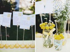Real Wedding: Christie + Josh's Elegant Backyard Wedding Yellow Wedding, Green Wedding Shoes, Summer Wedding, Lemon Centerpieces, Wedding Centerpieces, Rustic Centerpieces, Centrepieces, Elegant Backyard Wedding, Chic Wedding