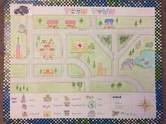 Map with Keys Scale Compass Elementary School Project.. My son found some keys idea from the internet and created his own street path... Colorful... everyone loved it!!