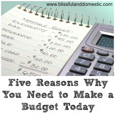 Blissful and Domestic - Creating a Beautiful Life on Less: Five Reasons Why You Need to Make a Budget Today...