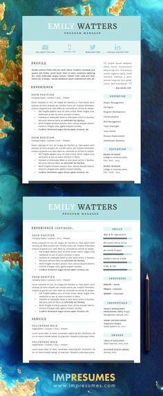 Resume Template 2 Page Resume CV Template Cover by ModernResumeCo - 2 page resume