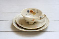 Ornate Cream Summery Floral Blue Orange and Yellow Flowers- Teacup and Saucer Trio Set - Vintage German- Hutschenreuther Porcelain Trio