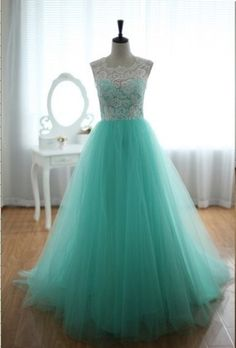 Floor Length Mint Tulle Prom Dress , Lace Prom Dress