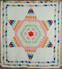 BEAUTIFUL Vintage 30's Hand Stitched Lone Star Antique Quilt ~NICE BORDERS!