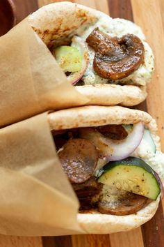 "Vegan Gyros with Mushrooms and Tzatziki. Easy 5 Ingredient Vegan Mushroom Gyro ""meat"" and 5 Minute Vegan Tzatziki. Vegan Gyros with Mushrooms and Tzatziki. Easy 5 Ingredient Vegan Mushroom Gyro ""meat"" and 5 Minute Vegan Tzatziki. Vegan Foods, Vegan Dishes, Vegan Lunches, Vegan Meals, Gyro Meat, Vegetarian Recipes, Healthy Recipes, Vegan Recipes, Snacks"