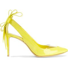 Nicholas Kirkwood Bow-detail patent-leather pumps (€360) ❤ liked on Polyvore featuring shoes, pumps, yellow, pointed toe high heel pumps, bow pumps, yellow pointy toe pumps, high heel shoes and yellow pumps