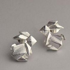 Origami Silver Rabbit Earring, 925 Silver Rabbit Ear Studs, Handmade Origami Jewellery, Anniversary, Birthday, Christmas, Gift #handmade #etsyretwt