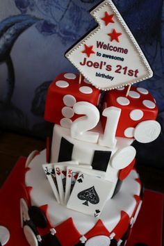Vegas Gambling 21st Birthday Cake @Alycia Turpin Bedrosian .... I happened to spot this cake and thought of you. ;)