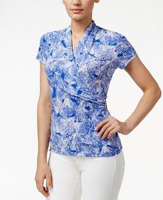 Charter Club Brushstroke-Print Crossover Wrap Top, Only at Macy's - Tops - Women - Macy's