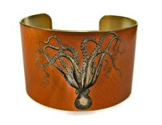 Cuttlefish and Seahorse Vintage style brass cuff
