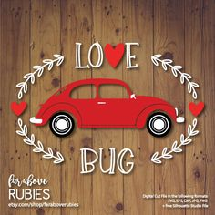 Love Bug with Heart Valentine's Day Car SVG, EPS, dxf, png, jpg digital cut file for Silhouette or Cricut http://etsy.me/2C2u1ac #supplies #valentinesday #scrapbooking #valentinesdaysvg #eps #dxf #lovebugsvg #cutfile #cuttable
