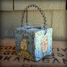 Folk Art Candle Holder Hand Painted Terrye by PaxtonValleyFolkArt