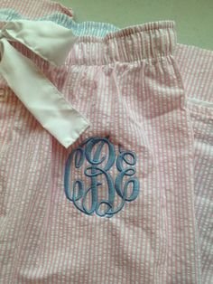 Monogrammed Pink Seersucker Women's Pajama Pants from The Southern Peach