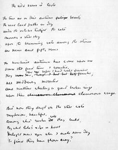 """Wild Swans at Coole""-Manuscript  W.B. Yeats"